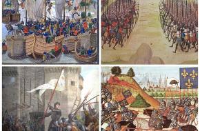 De slag bij la Rochelle, de slag bij Azincourt, de slag bij Patay, de belegering van Orléans