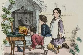 Schoen zetten voor de open haard of de kachel (1873)