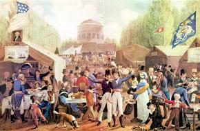 De viering van Onafhankelijkheidsdag in Philadelphia, 1819. Een schilderij van John Lewis Krimmel.