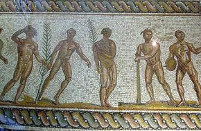 Mozaïeken vloer van Olympische winnaars die de laurierkrans dragen, uit het museum van Olympia. Bron: Wikimedia Commons.