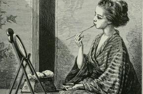Illustratie van een Japanse vrouw die haar lippen kleurt (1874)