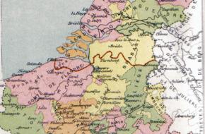 Kaart van de Habsburgse Nederlanden (Wikimedia Commons)