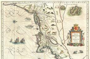 Een map van Nieuw Nederland en Nieuw Engeland uit 1635, gemaakt door Willem Blaeu. Bron: Wikimedia Commons.