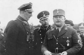 Drie belangrijke personen in de Nacht van de Lange Messen: Kurt Daluege, Heinrich Himmler en Ernst Röhm, 1933.