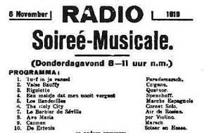 Advertentie voor eerste Nederlandse radiouitzending