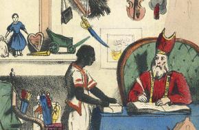 Sint en Piet op een prent uit 1850.