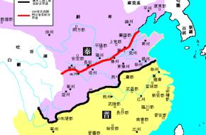 Kaart van China, met het gebied van de Qin in het roze en het gebied van de Jin in het geel. Bron: Wikimedia Commons.