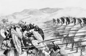 Een scène uit de Slag bij Plataeae. Een kunstwerk van John Steeple Davis. Bron: Wikimedia Commons.