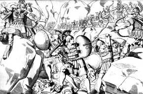 De Slag bij Thermopylae. Een kunstwerk van M.A. Barth, 1832. Bron: Wikimedia Commons.