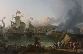 De zeeslag bij Vigo op 12 oktober 1702. Een schilderij van Ludolf Bakhuizen uit 1702, National Maritime Museum [BHC2216].