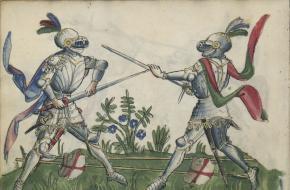 Middeleeuwse ridders in gevecht. Bron: Wikimedia Commons.