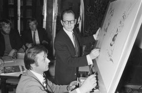 Albert Uderzo en Morris, de tekenaars van Lucky Luke en Asterix en Obelix
