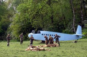 Simulatie van de Duitse aanval met een zweefvliegtuig