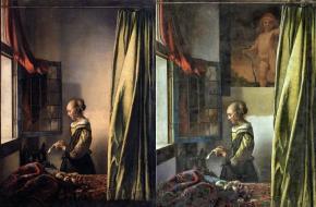 Meisje met brief bij open venster Vermeer