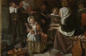 Het Sint-Nicolaasfeest, schilderij van Jan Steen. Via Rijksmuseum