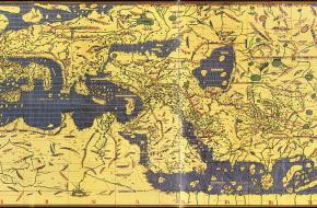 Een kaart van de Duitse cartograaf martin Waldseemüller