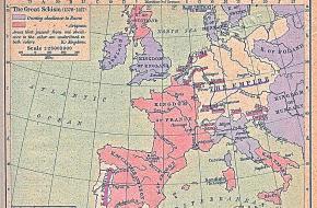Kaart van het grote schisma in 1054