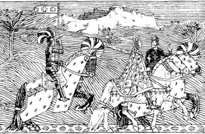 Koning Sigurd en Koning Boudewijn rijden samen Jeruzalem in