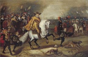 Prins Maurits van Oranje tijdens de Slag bij Nieuwpoort