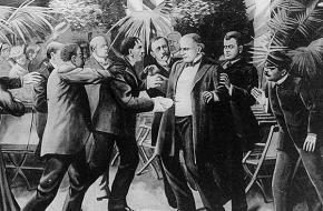 De moord op McKinley. Een schilderij van T. Dart Walker, 1901.