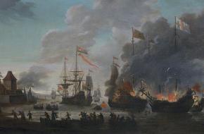 Brandende Engelse schepen tijdens de Tocht naar Chatham in 1667 door Jan van Leyden
